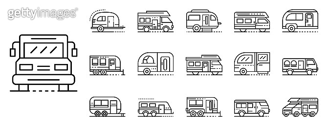 Motorhome icons set, outline style