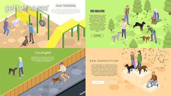 Cynologist training banner set, isometric style