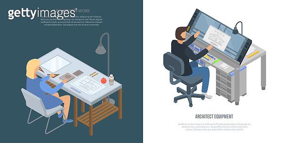 Architect equipment banner set, isometric style