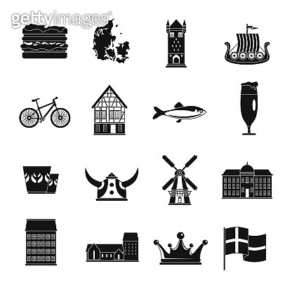 Denmark travel icons set, simple style