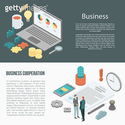 Business cooperation banner set, isometric style