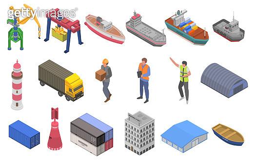 Marine port icons set, isometric style