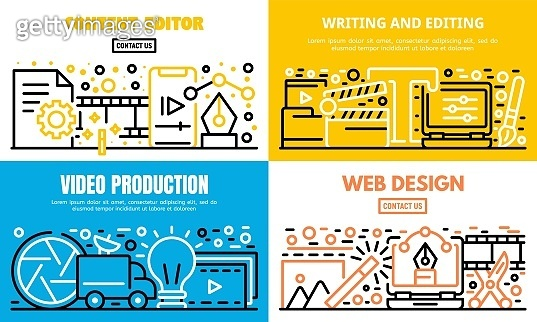 Content editor banner set, outline style