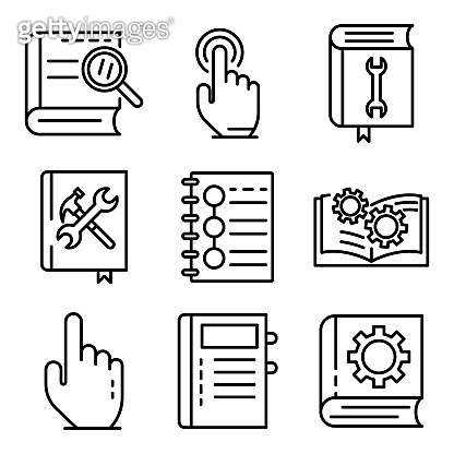 User guide icons set., outline style