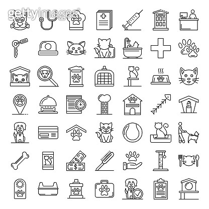 Pets hotel icons set, outline style