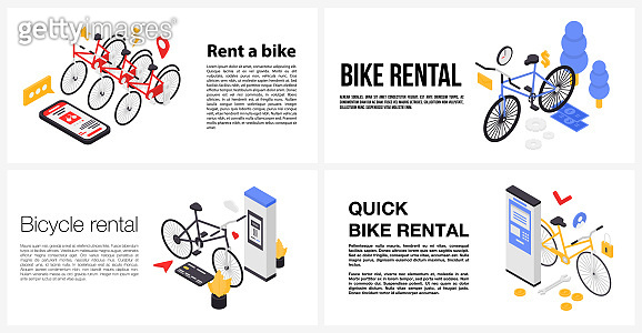 Rent a bike banner set, isometric style