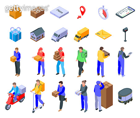 Courier icons set, isometric style