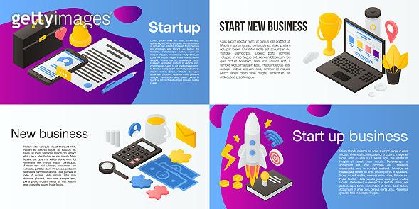 Startup banner set, isometric style