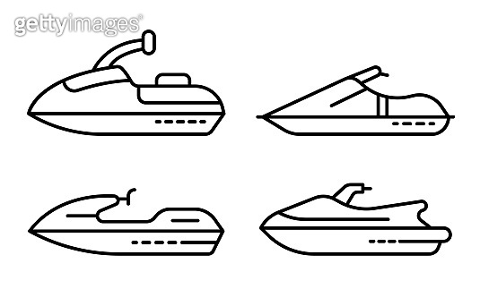 Jet ski icons set, outline style