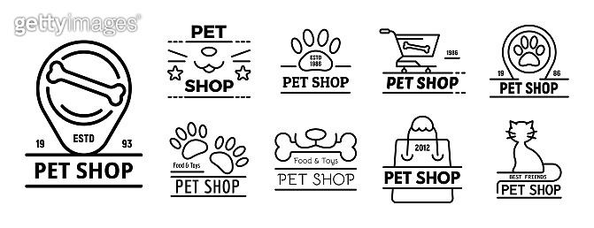 Pet store icons set, outline style