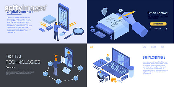 Digital contract banner set, isometric style