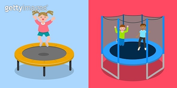 Trampoline jumping banner set, flat style