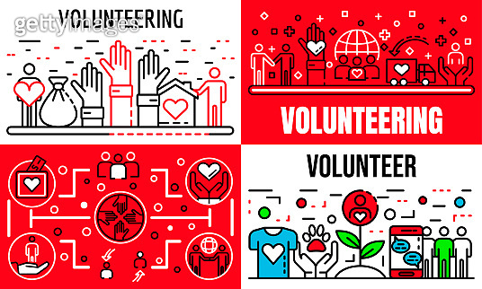 Volunteering banner set, outline style