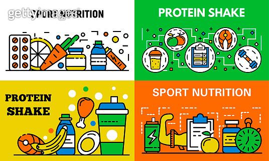 Sport nutrition banner set, outline style
