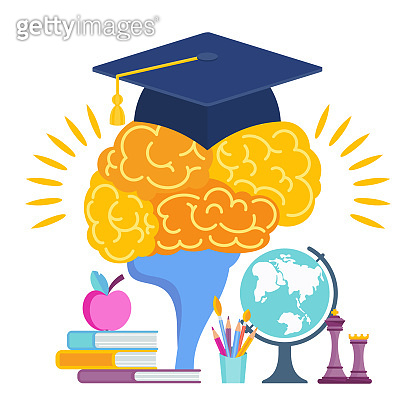 University hat on the brain. Metaphor of learning
