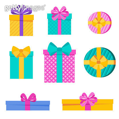 Set of bright fun holiday gift boxes