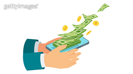 Money transfer using mobile device, computer and smart phone.