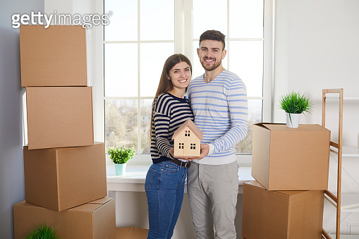 Concept of buying sale rent moving selling house rental mortgage investment in new home apartment