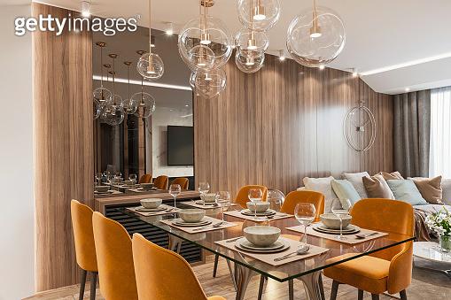 Modern open space apartment interior
