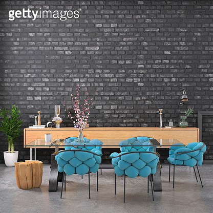 Dining room with blank black brick wall