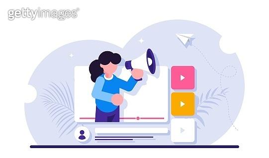 Social video marketing concept. Online advertisement, internet promotion, digital ad or promo. Woman holding bullhorn or megaphone in multimedia player window. Modern flat illustration.
