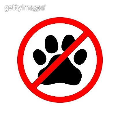 No pets allowed. Animal paw print. Not allowing pets. Prohibiting sign for animals.