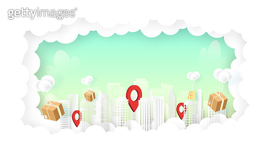 Delivery services and e-commerce packages balloons flying above the city on sky background