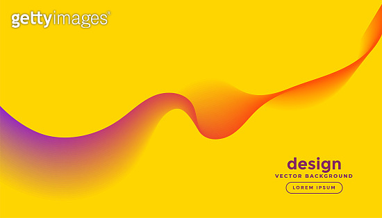 abstract colorful wave lines in yellow background design illustration