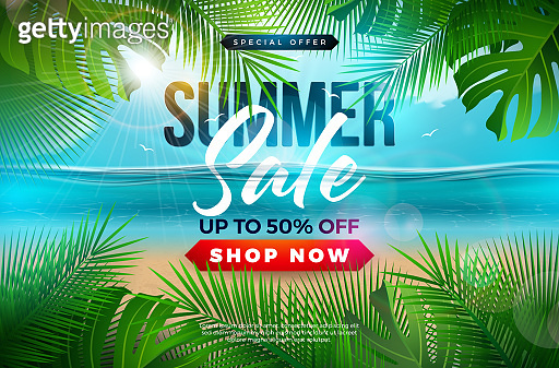 Summer Sale Design with Palm Leaves and Typography Letter on Blue Ocean Landscape Background. Tropical Floral Vector Illustration with Special Offer Typography for Coupon, Voucher, Banner, Flyer, Promotional Poster, Invitation or greeting card.
