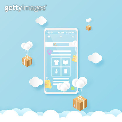 Smart phone on blue sky with online shopping and delivery service.