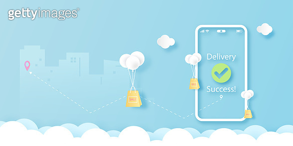Smart phone on blue sky with online shopping and delivery service concept