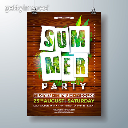 Vector SummerParty Flyer Design with Tropical Palm Leaves and Paper Cutting Typography Letter on Vintage Wood Background. Summer Holiday Illustration with Exotic Plants for Banner, Flyer, Invitation or Celebration Poster.