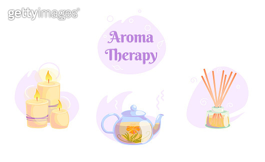 Aromatherapy icons set with candles, blooming tea, wooden aroma sticks illustration on isolated white background. Nature spa wellness relax concept and healthy logo design. Alternative oriental zen