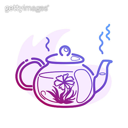 Line Hot blooming tea in a glass teapot isolated color line icon with flat spot for round highlights stories. Front view of japanese flowering drink ceremony. Relaxation concept Nature healthy symbol