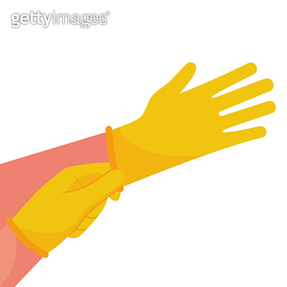 Putting on gloves. Protective latex yellow gloves.
