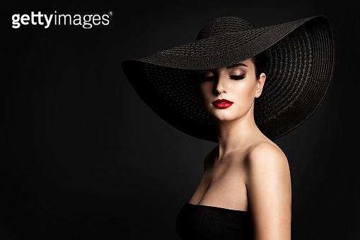 Fashion Model Black Hat, Elegant Woman Beauty Retro Portrait, Wide Broad Brim Hat
