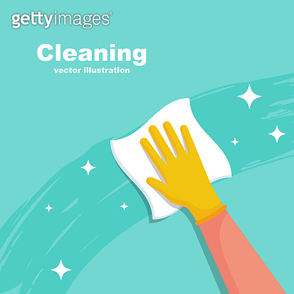Houseworker wipes the surface with a napkin vector