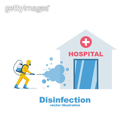 Hospital disinfection. Prevention controlling epidemic of coronavirus covid-2019.
