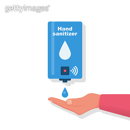Hand sanitizer wall. People use automatic alcohol antiseptic gel.