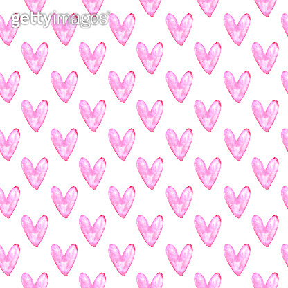 Seamless pattern with watercolor hearts. Romantic love hand drawn backgrounds texture. For greeting cards, wrapping paper, wedding, birthday, fabric, textile, Valentines Day, mothers Day, easter