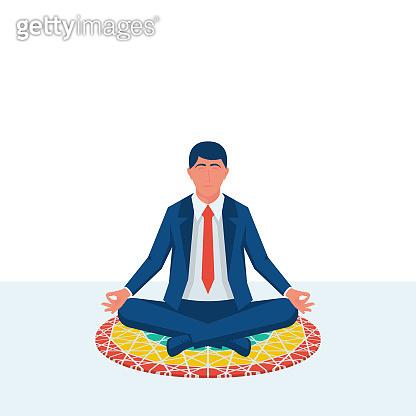 Meditation concept. Businessman sitting in lotus pose