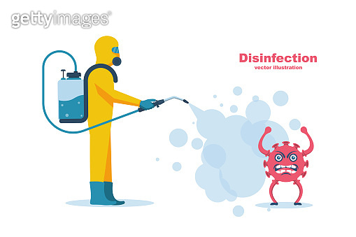 Disinfection coronavirus covid-19. Worker in chemical hazmat suit protection and equipment.