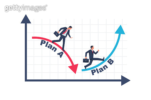 Businessman running business graph on up and down.