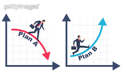 Businessman running business graph on up and down