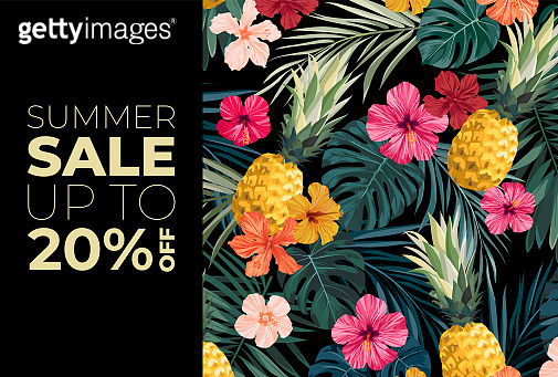 Dark vector summer design with exotic palm leaves, hibiscus flowers, pineapples and space for text. Sale offer template, banner of flyer background. Tropical backdrop illustration.