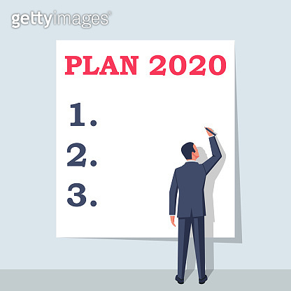 Plan 2020. To do list for next year. Vector illustration flat design