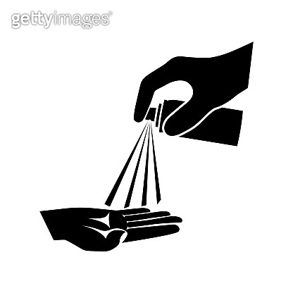 Man uses an antiseptic on hands. Black icon disinfectant. Vector design.