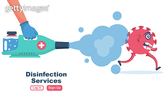 Disinfection services concept. Prevention controlling epidemic of coronavirus covid-2019