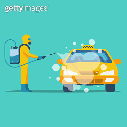 Taxi disinfection concept. Worker in chemical hazmat suit protection and equipment