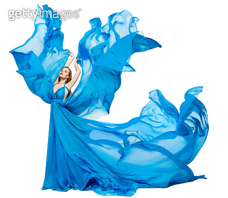 Woman Blue Dress Fluttering as Wave, Waving Silk Cloth, Artistic Fashion Model in color Fabric on White
